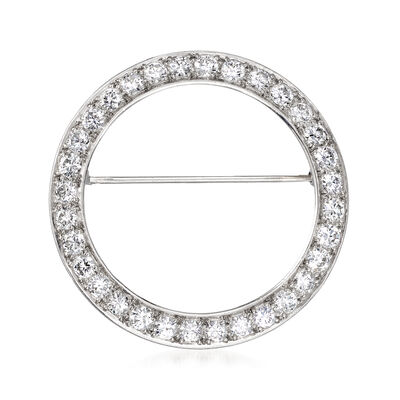 C. 1960 Vintage 2.00 ct. t.w. Diamond Eternity Circle Pin in 14kt White Gold, , default