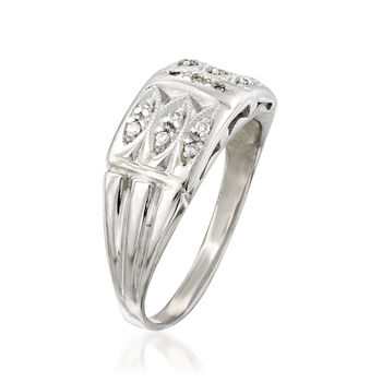 C. 1940 Vintage .15 ct. t.w. Diamond Ring in 14kt White Gold. Size 7, , default