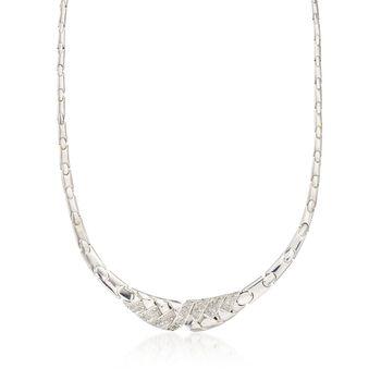 "C. 1980 Vintage 1.75 ct. t.w. Diamond Basketweave Motif Necklace in 18kt White Gold. 17"", , default"