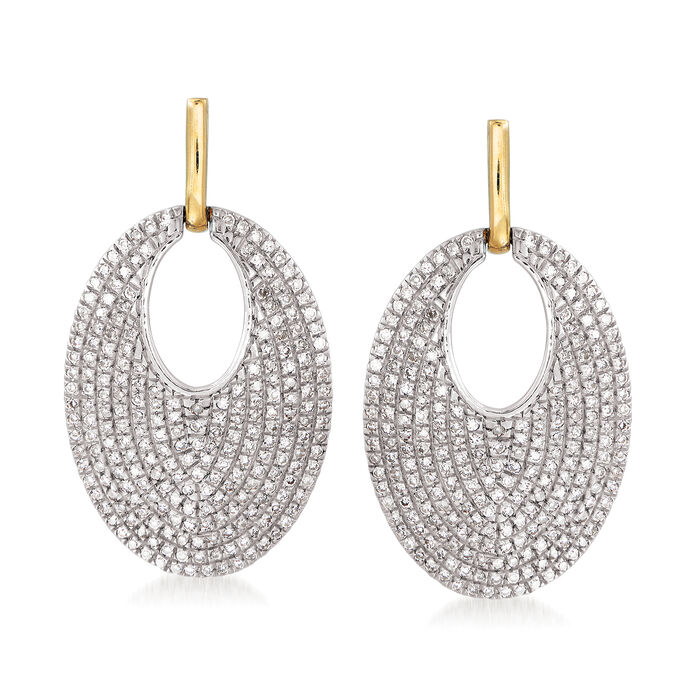 .63 ct. t.w. Diamond Drop Earrings in Sterling Silver and 14kt Yellow Gold, , default