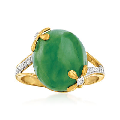Jade and .10 ct. t.w. White Topaz Ring in 18kt Gold Over Sterling