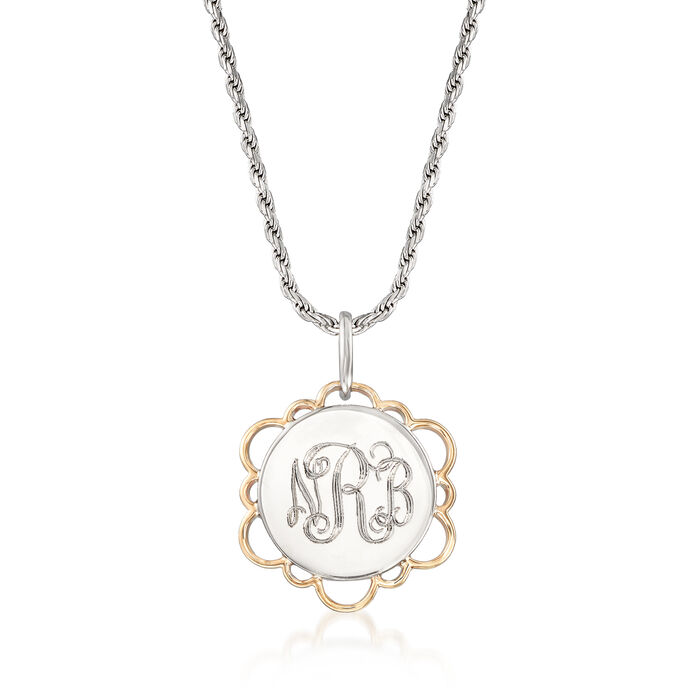 Two-Tone Personalized Disc Pendant Necklace in Sterling Silver and 14kt Yellow Gold