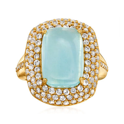 8.00 Carat Milky Aquamarine and 1.60 ct. t.w. White Topaz Ring in 18kt Gold Over Sterling