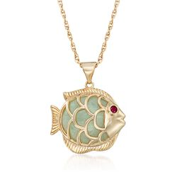 "Green Jade Fish Pendant Necklace With Ruby Accent in 18kt Gold Over Sterling. 18"", , default"
