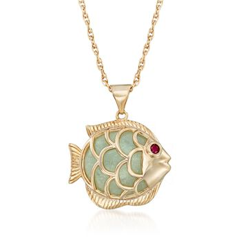 """Green Jade Fish Pendant Necklace With Ruby Accent in 18kt Gold Over Sterling. 18"""", , default"""