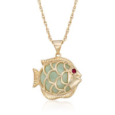 Green Jade Fish Pendant Necklace with Ruby Accent in 18kt Gold Over Sterling, , default