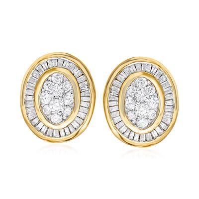 1.00 ct. t.w. Diamond Cluster Earrings in 14kt Yellow Gold