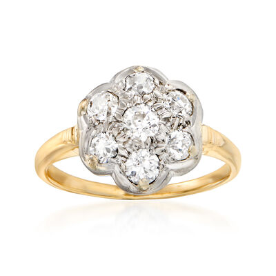 C. 1950 Vintage .75 ct. t.w. Diamond Cluster Ring in 14kt Two-Tone Gold