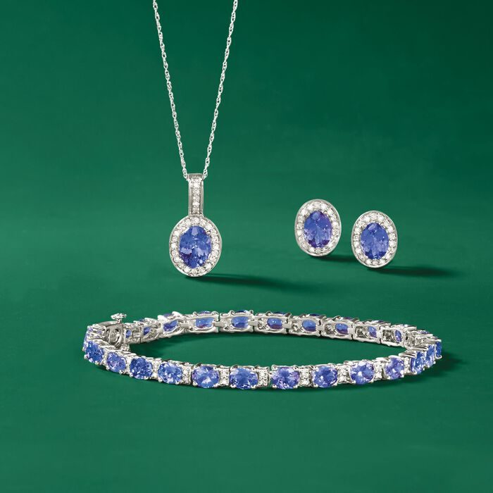 8.50 ct. t.w. Tanzanite and .27 ct. t.w. Diamond Bracelet in 14kt White Gold