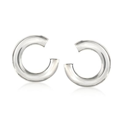 Italian Sterling Silver C-Shaped Drop Earrings, , default