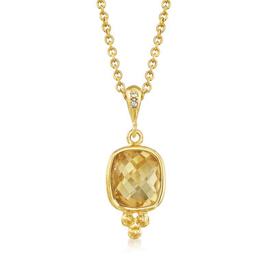 Italian 5.00 Carat Citrine Pendant Necklace with CZ Accents in 18kt Yellow Gold Over Sterling, , default