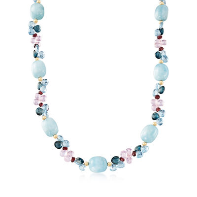 258.00 ct. t.w. Multi-Gemstone Necklace in 14kt Yellow Gold, , default