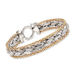 Sterling Silver and 14kt Yellow Gold Popcorn and Rope Chain Bracelet, , default