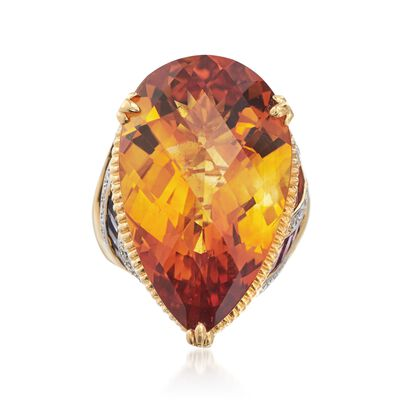 C. 2000 Vintage Bellarri 33.50 Carat Citrine and 8.30 ct. t.w. Multi-Stone Ring in 18kt Yellow Gold, , default