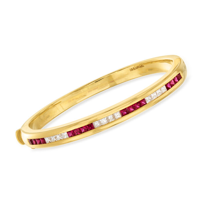 C. 1990 Vintage Tiffany Jewelry 1.74 ct. t.w. Ruby and 1.11 ct. t.w. Diamond Bangle Bracelet in 18kt Yellow Gold. 7""
