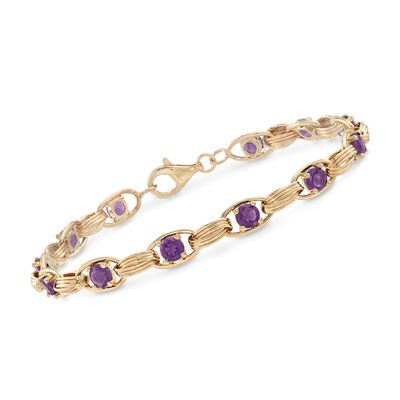 3.00 ct. t.w. Amethyst Oval-Link Bracelet in 14kt Yellow Gold