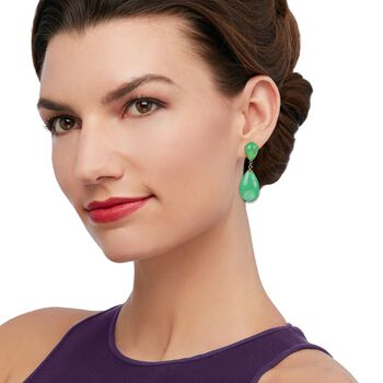 Green Jade Teardrop Earrings in 14kt Yellow Gold, , default