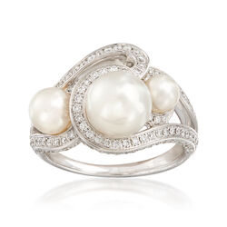 Mikimoto 4.5-8mm Akoya Pearl Trio and .63 ct. t.w. Diamond Ring in 18kt White Gold, , default