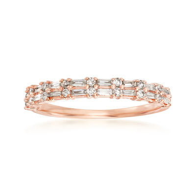 .30 ct. t.w. Round and Rectangular Baguette Diamond Ring in 14kt Rose Gold, , default