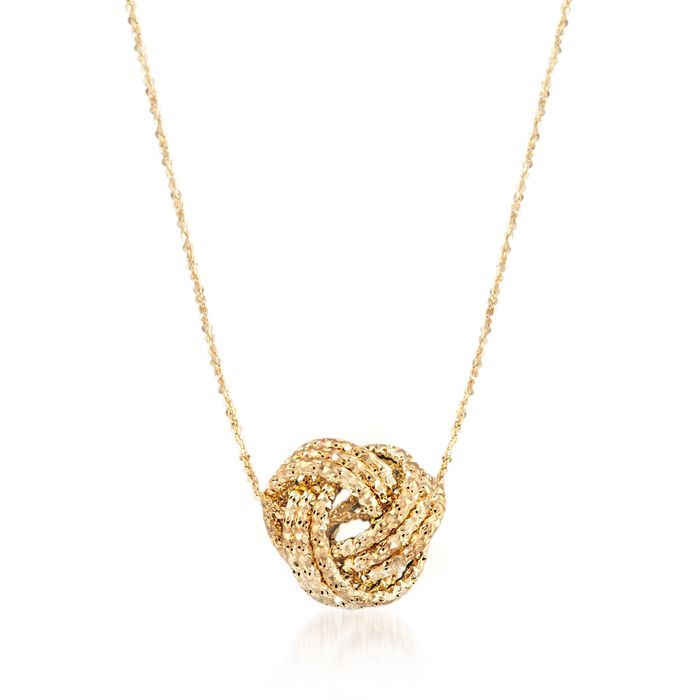 Italian 14kt Yellow Gold Textured Love Knot Necklace, , default