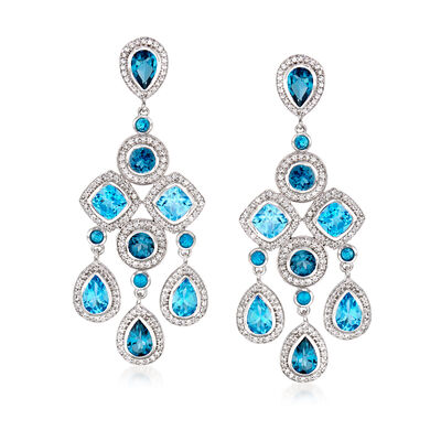 25.20 ct. t.w. Blue and White Topaz and .80 ct. t.w. Apatite Chandelier Drop Earrings, , default