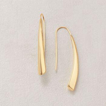 "Italian 18kt Yellow Gold Elongated Drop Earrings. 1 1/2"""