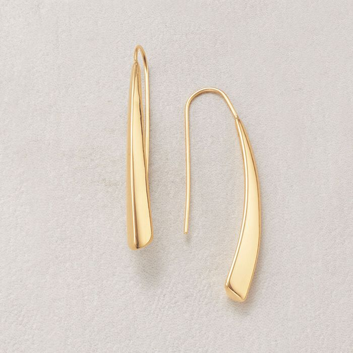 Italian 18kt Yellow Gold Elongated Drop Earrings