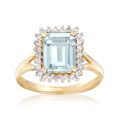1.40 Carat Aquamarine and .21 ct. t.w. Diamond Frame Ring in 14kt Yellow Gold, , default