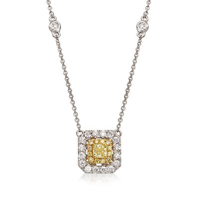 .80 ct. t.w. Yellow and White Diamond Square Necklace in 18kt Two-Tone Gold