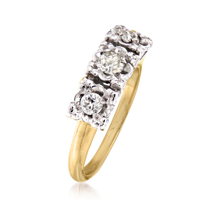 C. 1950 Vintage .35 ct. t.w. Diamond Ring in 14kt Two-Tone Gold