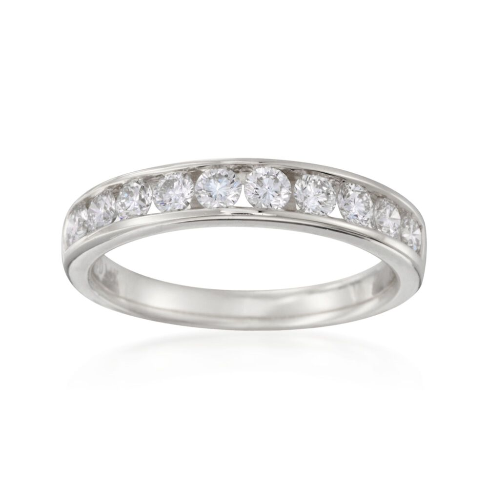 T W Channel Set Diamond Wedding Ring In 14kt White Gold