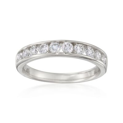 .75 ct. t.w. Channel-Set Diamond Wedding Ring in 14kt White Gold, , default