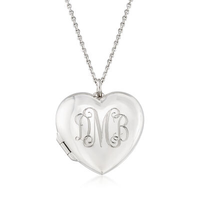 Italian Sterling Silver Monogram Heart Locket Necklace, , default