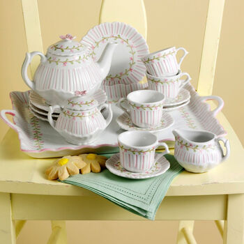 Child's Porcelain Rose Pinstripe Tea Set