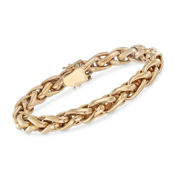 "Italian 18kt Yellow Gold Braided Link Bracelet. 7.5"", , default"