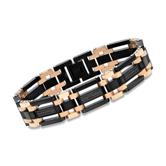 """Men's Black and Rose Stainless Steel Link Bracelet with 1.10 ct. t.w. Black CZs. 8.5"""""""