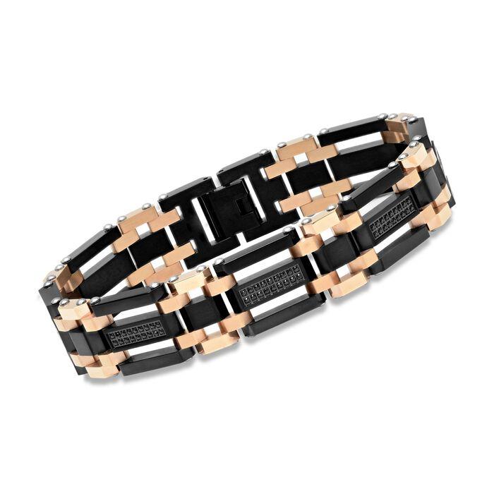 "Men's Black and Rose Stainless Steel Link Bracelet with 1.10 ct. t.w. Black CZs. 8.5"", , default"