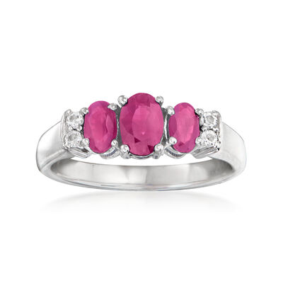 1.01 ct. t.w. Ruby Ring with White Topaz Accents in Sterling Silver