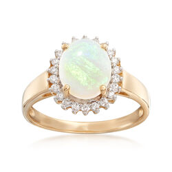 Opal and Diamond Ring in 14kt Yellow Gold, , default