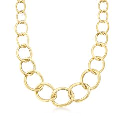 "Italian 18kt Yellow Gold Graduated Link Necklace. 18"", , default"