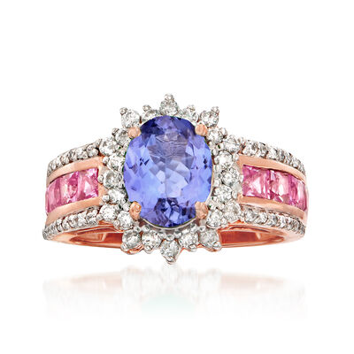 1.80 Carat Tanzanite, 1.20 ct. t.w. Pink Sapphire and .50 ct. t.w. Diamond Ring in 14kt Rose Gold, , default