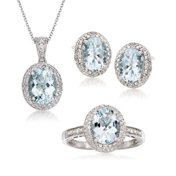 4.75 ct. t.w. Aquamarine and .20 ct. t.w. Diamond Set: Earrings, Necklace, and Ring in Sterling Silver, , default
