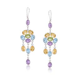 26.20 ct. t.w. Multi-Stone Chandelier Drop Earrings in Sterling Silver , , default