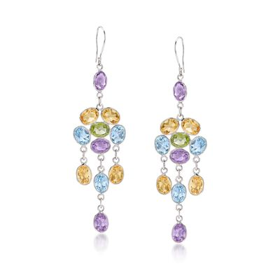 26.20 ct. t.w. Multi-Stone Chandelier Drop Earrings in Sterling Silver, , default