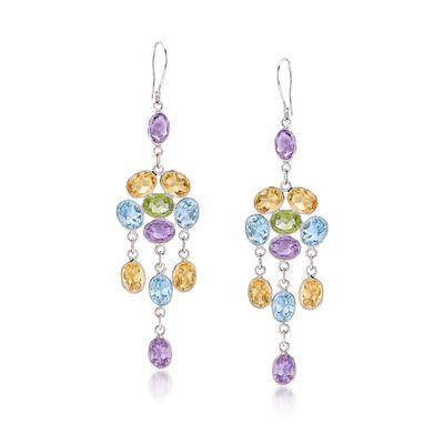 26.20 ct. t.w. Multi-Stone Chandelier Drop Earrings in Sterling Silver, , default