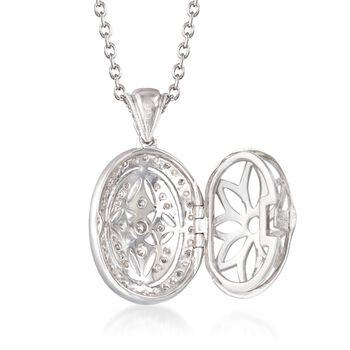 """.25 ct. t.w. Diamond Fancy Oval Locket Necklace in Sterling Silver. 18"""", , default"""