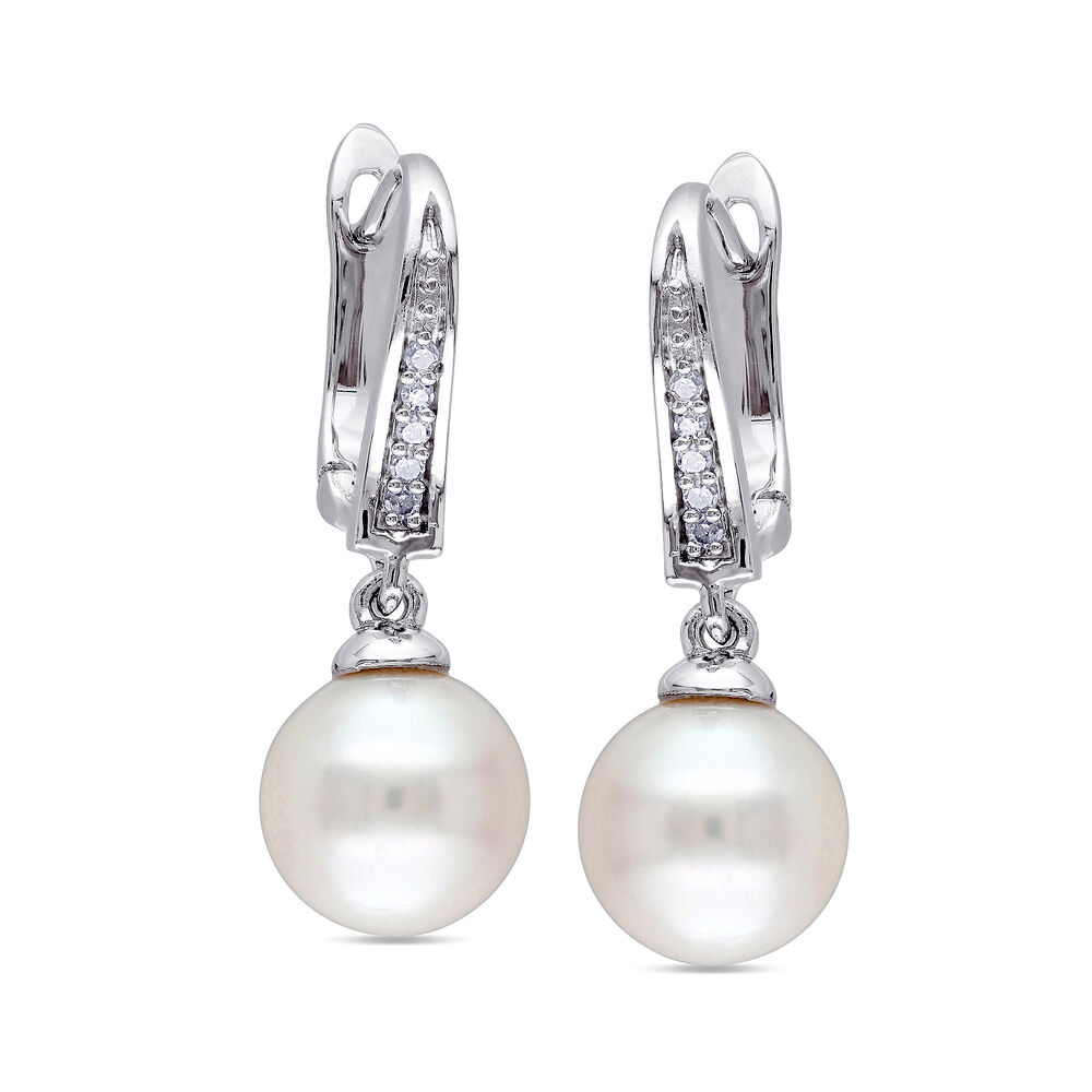684ab8af86751 8-8.5mm Cultured Pearl Drop Earrings with Diamond Accents in Sterling Silver