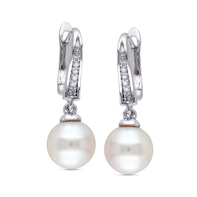 8-8.5mm Cultured Pearl Drop Earrings With Diamond Accents in Sterling Silver, , default