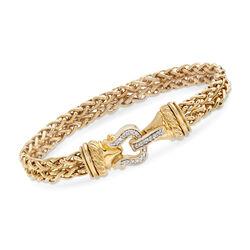 C. 1990 Vintage David Yurman .30 ct. t.w. Diamond Buckle Bracelet in 18kt Yellow Gold, , default