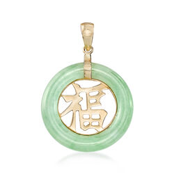 "Green Jadeite Jade ""Blessing"" Chinese Fu Symbol Circle Pendant in 14kt Gold , , default"